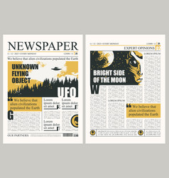 template for layout newspaper on ufos theme vector image