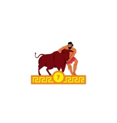 The seventh feat of Heracles Cretan bull vector image