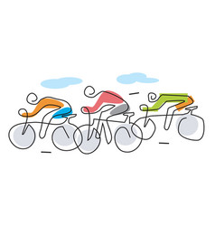 three cyclists line art stylized vector image