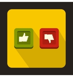 Thumbs up and down buttons icon flat style vector image