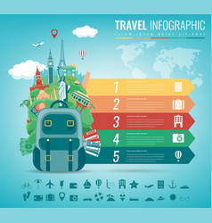 Travel infographic with world landmarks vector