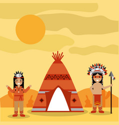Two native american people with teepee and desert vector
