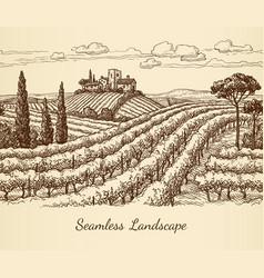 Vineyard seamless landscape vector