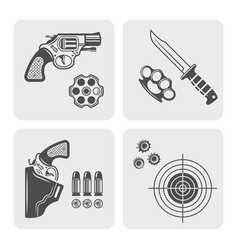 Weapons shooting range gun shop black elements vector