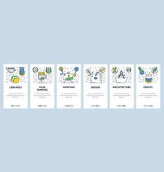 web site onboarding screens hobby and art vector image