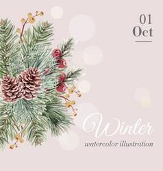 winter floral blooming elegant wedding invitation vector image