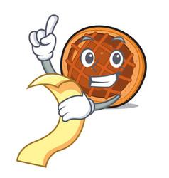 with menu baket pie mascot cartoon vector image