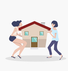 womans teamwork concept with house vector image