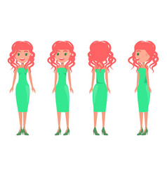 women in green dresses summer mode set vector image