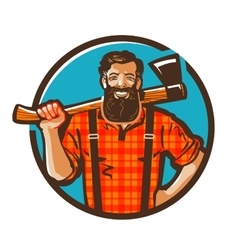 Woodcutter logo lumberjack or carpenter vector