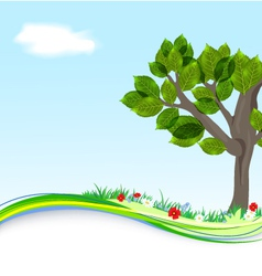 Background with tree and flowers vector image vector image
