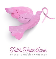 Breast cancer awareness pink bird with ribbon vector image vector image