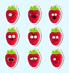 Cartoon strawberry cute character face sticker vector