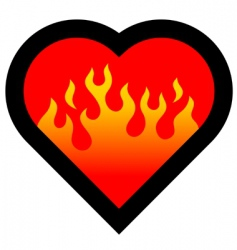 fire heart vector image vector image