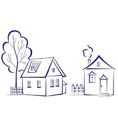 houses with a tree vector image vector image