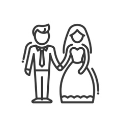 Newly Married Couple - line design single isolated vector image