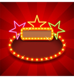 Retro poster with neon stars and lights vector image vector image