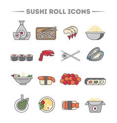 sushi roll and sashimi icon set vector image vector image