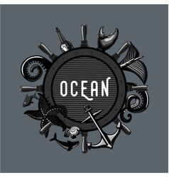 vintage ocean emblem retro travel lable marine vector image