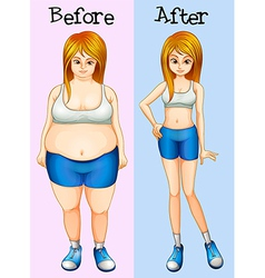 A transformation from a fat into a slim lady vector