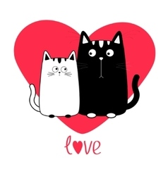 Cute cartoon black white cat boy and girl family vector image vector image