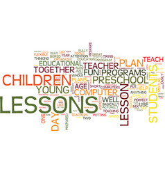 learn from a good preschool lesson plan text vector image vector image