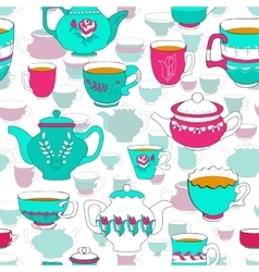 Seamless pattern of the doodle bright cup and pot vector image