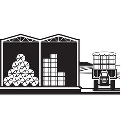 Storage of hay bales in farm vector