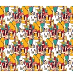 Tourism crowd people color seamless pattern vector image
