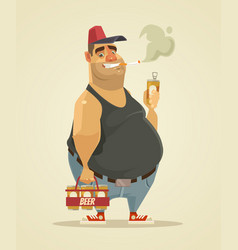 happy smiling man smoking cigarette and drinking vector image vector image