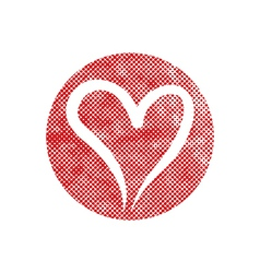 Heart icon with pixel print halftone dots texture vector image vector image