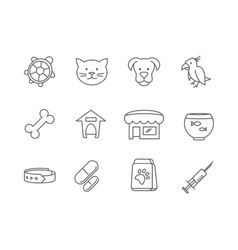 Pets shop and clinic line icons vector image vector image