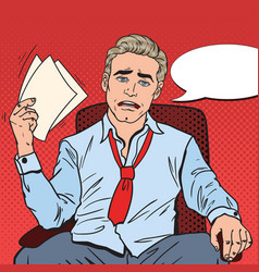 pop art businessman sweating at office vector image vector image