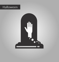 black and white style icon halloween grave vector image vector image