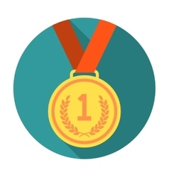 Gold medal flat icon vector image vector image