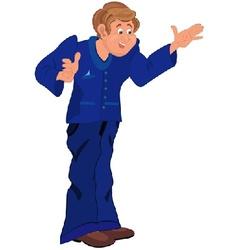 Happy cartoon man standing in blue uniform vector image vector image