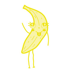 kawaii cute happy banana fruit vector image