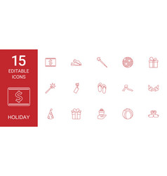 15 holiday icons vector image