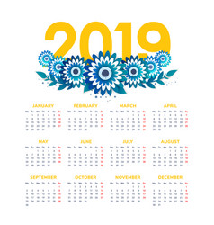 2019 new year calendar with flowers vector image