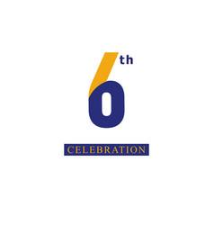 6 th anniversary celebration orange blue template vector