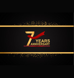 7 years anniversary logotype with golden color vector