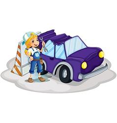 A girl fixing the broken violet car vector