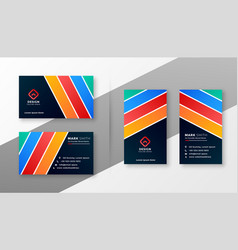 abstract colorful stripes business card design vector image