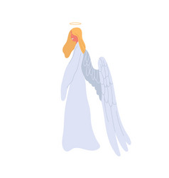 Angel cartoon woman in white dress flat vector
