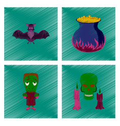 Assembly flat shading style icon cute bat potion vector