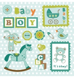 Baby boy card stamps cute collection vector image vector image