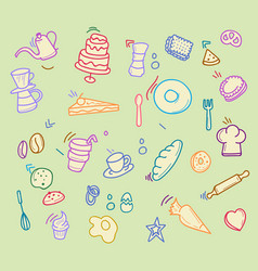 bakery cafe graphic doodle vector image