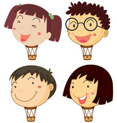 Balloons with children heads vector