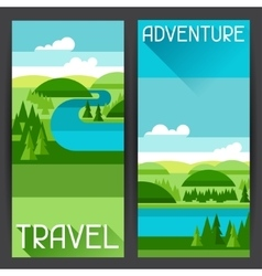 Banners with of river landscape and vector