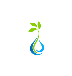 bio green leaf water drop logo vector image